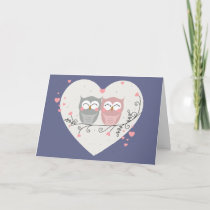 Owls in Love Holiday Card