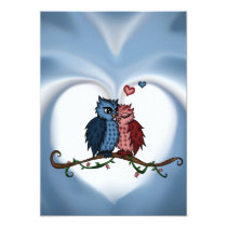 owls in love invitation