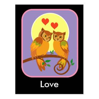 Owls in love postcard