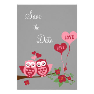 Owls in Love Save the Date Personalized Announcement