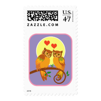 Owls in love stamp