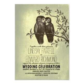 owls in love & tree branch vintage wedding card