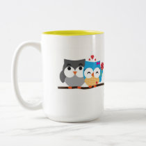 Owls in love Two-Tone coffee mug