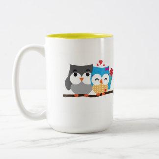 Owls in love Two-Tone coffee mug
