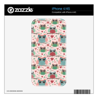 Owls in Love Woodland Creatures Pattern Skins For The iPhone 4S