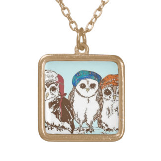 Owls in the Hood Gold Plated Necklace