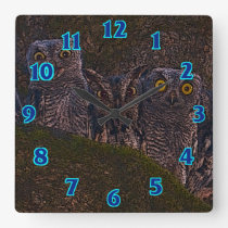 Owls in the Oak Hollow Square Wall Clock