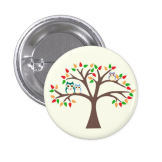 Owls in Tree 1 Inch Round Button