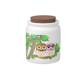 Owls in tree candy jar