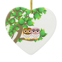 Owls in tree ceramic ornament