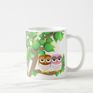 Owls in tree coffee mugs