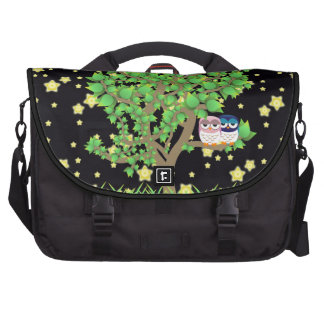 Owls in tree night laptop computer bag