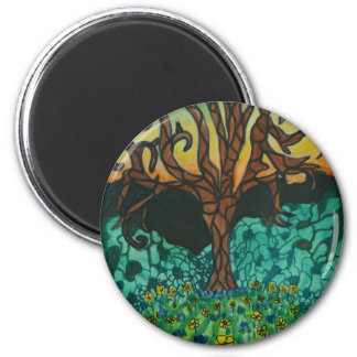 Owls in tree on floral mound magnet