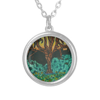 Owls in tree on floral mound silver plated necklace