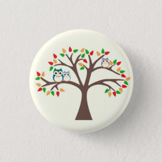Owls in Tree Pinback Button