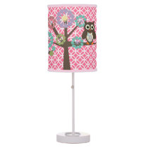 Owls in Trees on Pink Table Lamp