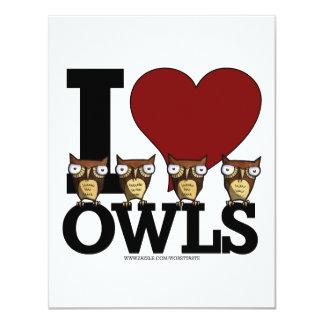 "owls 4.25"" x 5.5"" invitation card"