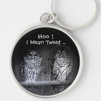 Owls Know How to Tweet Funny Keychain