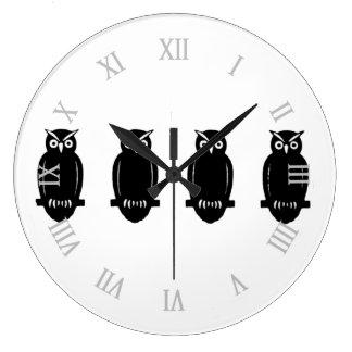 Owls l Vintage Clip Art Large Clock