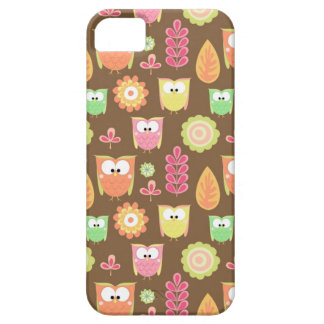 Owls & Leaves Brown Background iPhone5 Case