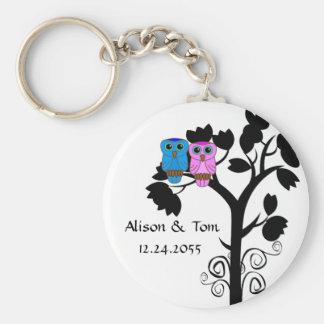 Owls - Love Bird Wedding Favors Basic Round Button Keychain