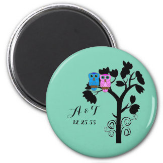 Owls - Love Birds - Cute Wedding Favors 2 Inch Round Magnet