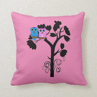Owls - Love Birds - Gift for Couple Throw Pillow