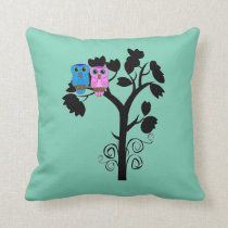 Owls - Love Birds - Gift for Couple Throw Pillow