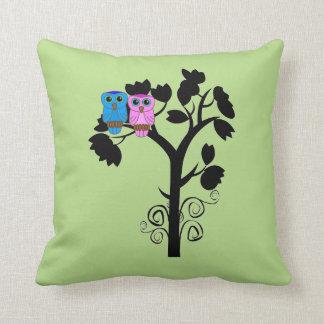 Owls - Love Birds - Gift for Couple Throw Pillows