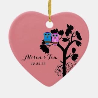 Owls - Love Birds - Wedding Favors Ceramic Ornament