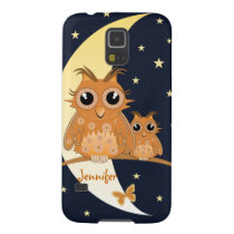 Owls, Moonlight, Stars and Name, cartoon Galaxy S5 Case