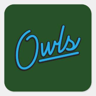 Owls neon in cyan square sticker