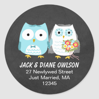 Owls Newlywed Couple Return Address Classic Round Sticker