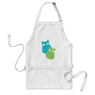 Owls of Blue and Green Adult Apron