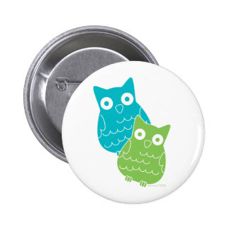 Owls of Blue and Green Button
