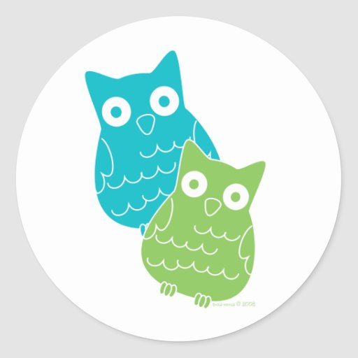 Owls of Blue and Green Classic Round Sticker