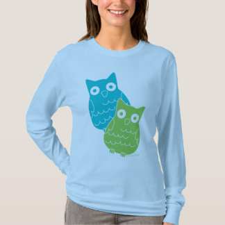 Owls of Blue and Green T-Shirt