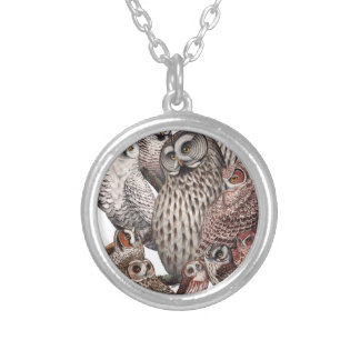 Owls of the Northeast dark.png Round Pendant Necklace