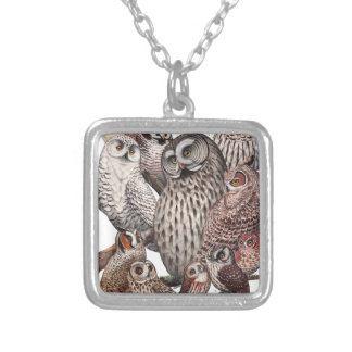 Owls of the Northeast dark.png Square Pendant Necklace