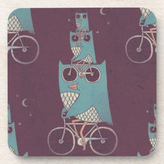 Owls on a Bicycle Beverage Coaster