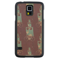 Owls on a Bicycle Carved Maple Galaxy S5 Slim Case