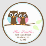 Owls on a Branch Address Labels Classic Round Sticker