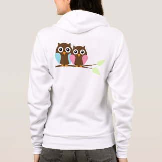 Owls on a branch hoodie