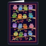 """Owls on branches cute text Birthday card<br><div class=""""desc"""">This all around designed birthday card has a design with cute colourful owls on branches in a lovely frame. The inside text can be changed easily into the desired one as well as all the background colours. Changing background colours: Use the Customize it / edit / (advanced) background function.</div>"""