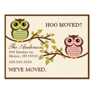 Owls on Branches Moving Announcements Postcard