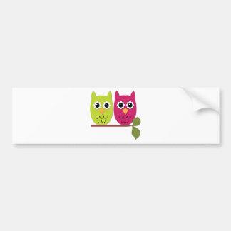 Owls on tree branch car bumper sticker