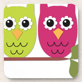Owls on tree branch coasters