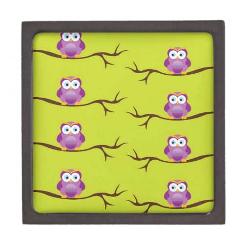 Owls on Tree Branches Premium Gift Box