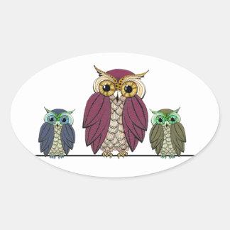 Owls on Wire Oval Sticker