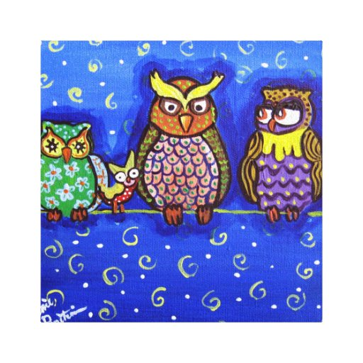 Owls on Wire Whimsical Folk Art Canvas Print